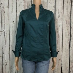 Antonio Melani Dark Teal Zip V-neck Blouse Shirt